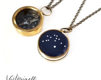 Aquarius Zodiac Constellation Necklace, Small Working Compass, Brass Chain, Pocket Compass, Bridal Party, January February Birthday Gift