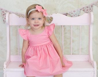 NEW Toddler Girl Easter Dress, Flower Girl Dress, Clothes, Girls Beach Dress, Flutter Sleeve Pinafore Dress, You Choose from 7 Colors