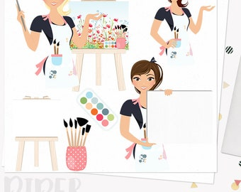 Woman artist character clipart, artistic woman clipart set with blonde, brunette and auburn hair (Piper L137)