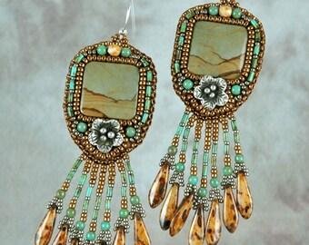 Earrings, bead embroidery, beaded, Picture Jasper, silver flower, beaded earrings
