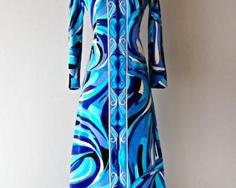 Vintage 1960s Emilio Pucci Dress ~ Vintage Emilio Pucci Velvet Maxi Dress Full Length Gown ~ Vintage Pucci Gown