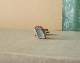 Green Fluorite Ring Electroformed Copper Size 5.5