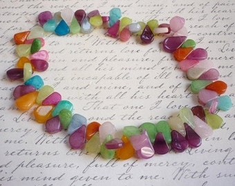 Rainbow Chalcedony Briolette Beads, Pink Blue Purple Green Orange Chalcedony, ELongated Drops Beads, 12mm To 20mm
