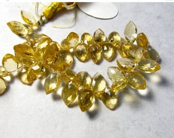 Citrine Briolette Beads Marquise 8mm 10mm 12mm ,  Sparkling Pristine, Natural Gemstone