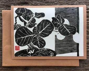Sea Grape Bonsai with Bird linocut artist notecard