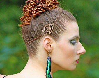 Copper Leaf Boho Hippie Hair Chain Crown Wedding or Prom Flapper Style Head Dress Jewelry  Gift for Her Bridal Brides Maid Queen