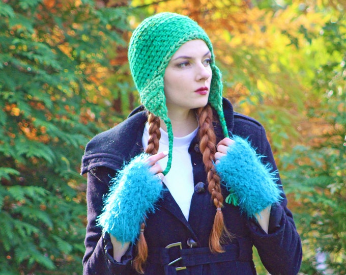 Teal Blue Fuzzy Fingerless Texting Gloves Handmade Unique One of a Kind Gift for Her