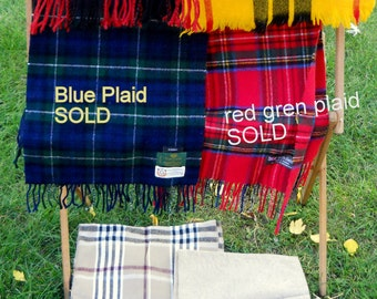 Vintage Plaid Scarves, Wool, Cashmere, Mens Scarf, Scotland, England, Germany, USA, Muffler Accessories Red/Blue/Yellow/Beige/White Plaid