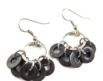 Dangle Earrings Black Hardware Jewelry Industrial Washers Eco Friendly