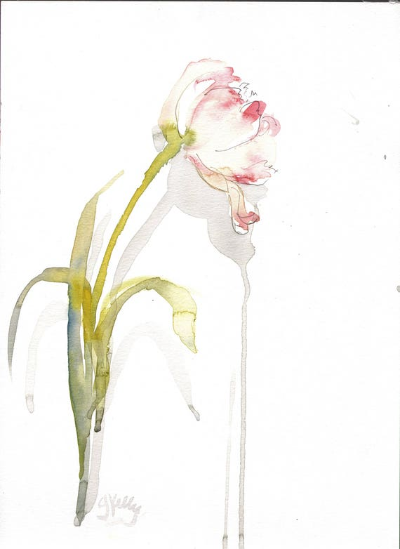 Original watercolor painting -Palest Tulip- original by Gretchen Kelly