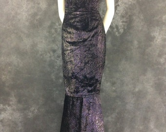 50's black metallic velour mermaid gown party dress