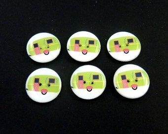 "6 RV or Camper Buttons. Handmade Lime Green Decorative Craft Novelty Recreational Vehicle or Camping Trailer Sewing Buttons. 3/4"" or 20 mm."