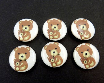 "Mother and Baby  Bear Buttons.  Set of 6 handmade buttons. Sewing buttons. 3/4"" or 20 mm.  Washer and Dryer Safe.  Children's Buttons."