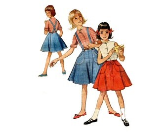1960s Girls Wrap Skirt and Blouse Pattern Suspender Skirt Big Pockets Summer Play Clothes Simplicity 4961 Size 8 Vintage Sewing Pattern