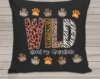 Grandma gift - wild about my grandkids personalized DARK fabric throw pillow - adorable Mother's Day gift MMGA1-002