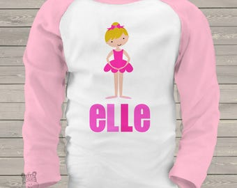 childrens personalized raglan shirt-dance girl ballerina adorably personalized t-shirt for your little dancer or ballerina MBAL1-003