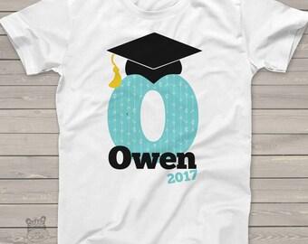 Graduation shirt - graduation boy initial with grad cap and tassel personalized  Tshirt  MSCL-010