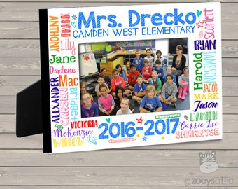 Teachers gift - teacher student names personalized class photo frame FTGWN