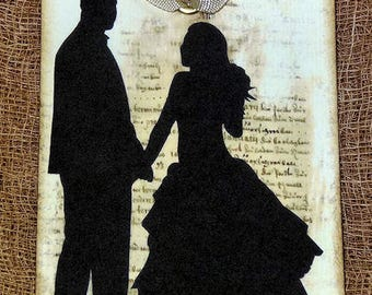 Bride Groom Silhouette Wedding or Shower Favor Gift  or Scrapbook Tags or Magnet #335