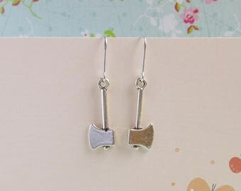 Miniature Axe Earrings, Silver Hatchet Earrings, Carpenter Tools, Quirky Earrings, Funny Jewelry, Gift For Her