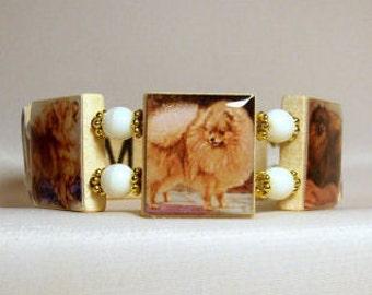 POMERANIAN Bracelet / SCRABBLE Jewelry / Dog Lover Unusual Gifts / Upcycled / Pom Pom