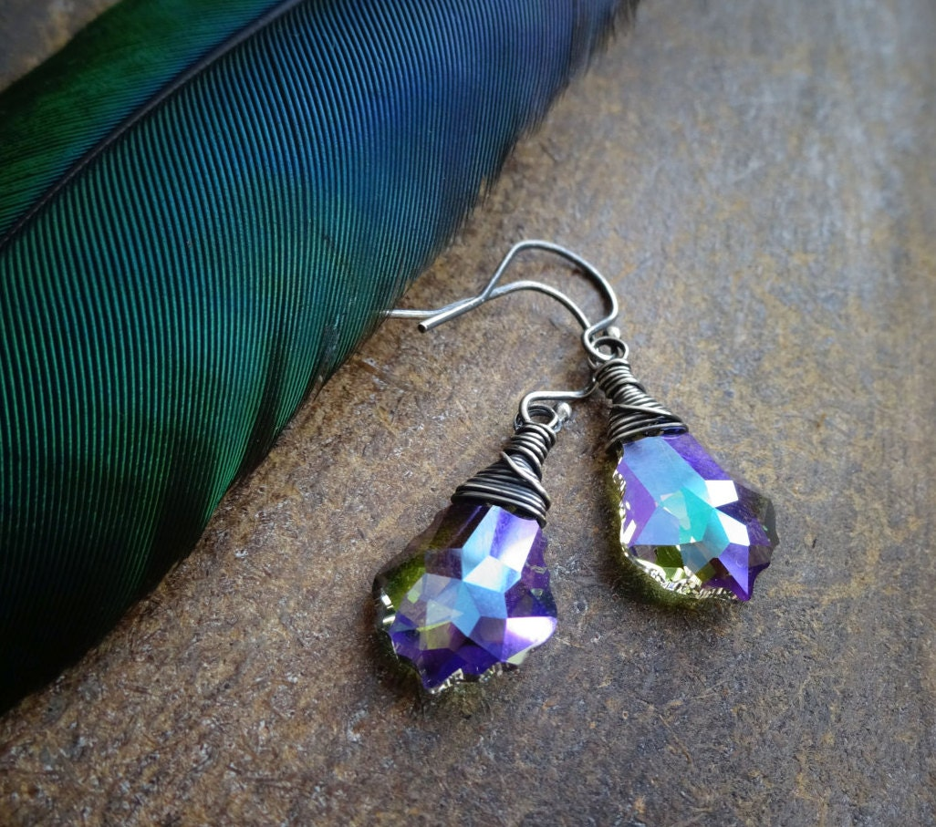 Baroque crystal earrings, Peaock crystal, oxidized sterling silver, dark silver, wire wrapped, Otis B, purple, blue, Swarovski earrings