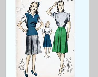 1940s Patterns, size 40 Bust, UNCUT 40s WWII Dubarry Pattern, Womens Swing Skirt and Jerkin Vest Vintage Sewing Pattern