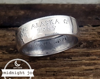 Alaska Coin Ring 90% Silver State Quarter Double Sided MR0702-TSSAK