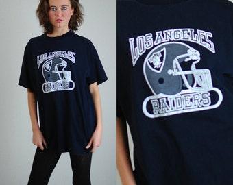 Los Angeles RAIDERS Tee Vintage 80s 90s Black Los Angeles Raiders NFL Football Distressed T Shirt (l xl)