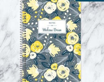 NOTEBOOK personalized journal | lined notebook | personalized gift | stocking stuffer | spiral bound notebook | grey yellow floral pattern