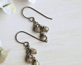 Labradorite Earrings - Stone Earrings - Gray Stone Earrings - Stainless Steel Earrings - Hypoallergenic - Labradorite Stone - Dangle Cluster
