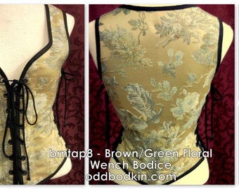 Odd Bodkin Wench Bodice in Brown/Green Floral Made to Order - brntap8