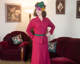 Vintage 1950s Suit - Stunning Fuchsia Wool Knit Late 50s Skirt Suit with Rhinestone Buttons and Pockets