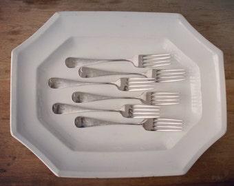 Antique Monogrammed Silver Forks, A Monogrammed Silver-plate Forks, Birks Regency Plate Flatware, Letter A Initial A, Family Silver