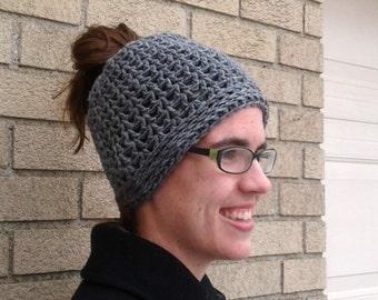 Grey Messy Bun Hat, Gray Ponytail Hat, Mom Bun Hat, Messy Bun, Pony Hat, Messy Bun Beanie, Crochet Bun Hat, Messy Ponytail Hat, Bun Beanie,