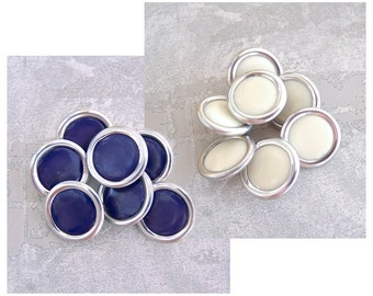 Mid-Century Metal Buttons, 19mm 3/4 inch - CHOOSE Warm White, Blueberry Purple - 7 VTG NOS Ring-Around Silver Metal Shank Buttons MT22 MT20
