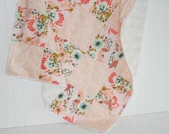 faux fur blanket- - baby girl blanket- floral baby blanket- pink baby blanket-patchwork minky baby blanket- patchwork- posy baby blanket