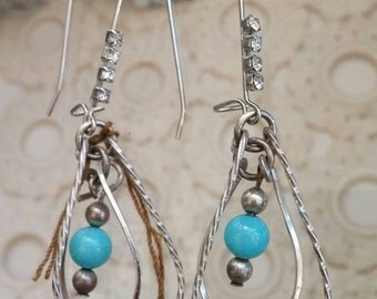 vintage jewelry bits and pieces twisted silver drop earrings