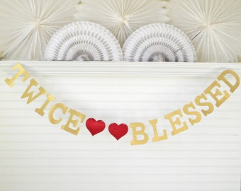 Glitter Twins Banner - 5 Inch Letters - Twice Blessed Banner Twins Baby Shower Decor Twins Garland Twins Sign Twins Shower Decorations