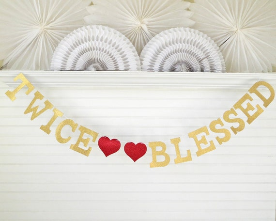 Twins Baby Shower Decorations Glitter 5 Inch Letters Twice