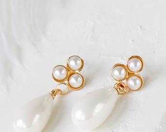 On Sale 20% Off, Erica Post Earrings, wedding bridal pearl posts, woodland flower studs