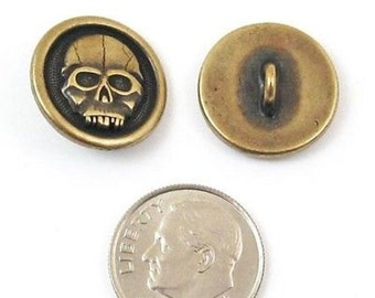 TierraCast Pewter Buttons-Brass Oxide SCARY SKULL 17mm (2)