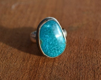 Turquoise Oxidized Sterling Silver Ring Ready to Ship Size 10 3/4