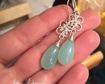 Aqua Chalcedony Earrings, Sterling Silver Filigree Leverback, Floral Jewelry, something blue