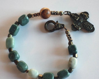 Green Agate Nugget and Bronze Single Decade Catholic Rosary