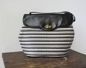 reserved // vintage 1950s purse / 50s raffia and patent leather handbag / early 1950s straw bag / 50s black white grey striped purse