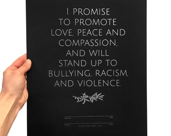 Promise of Peace screenprint, Silver Peace poster, Message of Peace & Love, love art, anti-bullying anti-racism anti-violence, good vibes