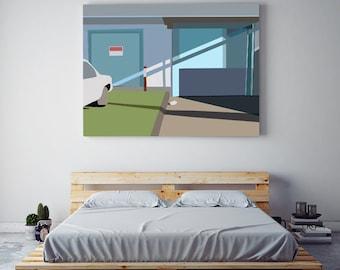 "Abstract Minimal Digital Painting ""Newport"" by Jules Tillman - Fine Art Lustre Print Modern Wall art. Minimal Art. Peach and marble"