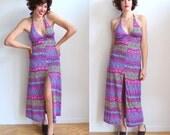 Vintage Psychedelic Floral Halter Dress/ 70's Boho Maxi Dress with Slit/Peter Max/ Size M