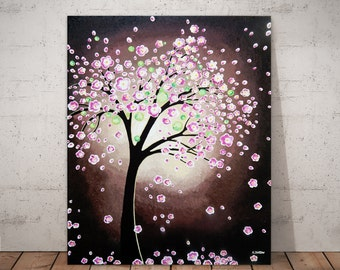 Pink Flower Tree Painting, Cherry Blossom Wall Art, Canvas Art Acrylic Painting Rustic Room Decor Free Shipping